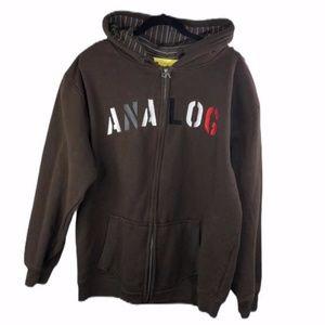 Analog Brown Hooded Zip Up Jacket Size Large